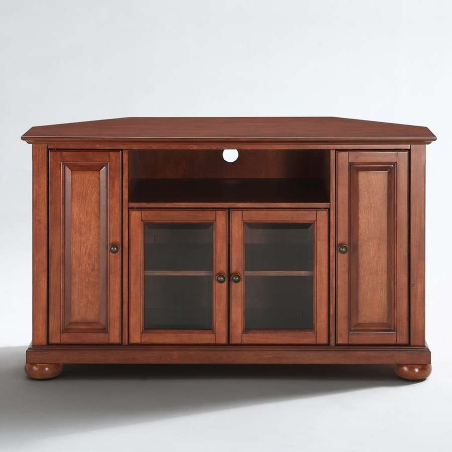 Shop Crosley Furniture Alexandria Classic Cherry Corner Tv Stand Intended For Cherry Wood Tv Stands (View 5 of 15)