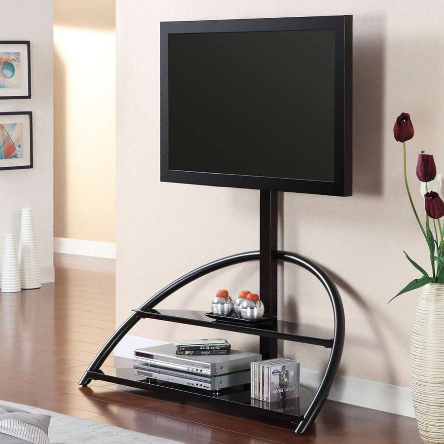 Shop Furniture Of America Fitz Black Integrated Mount Tv Stand At Regarding Round Tv Stands (View 4 of 15)