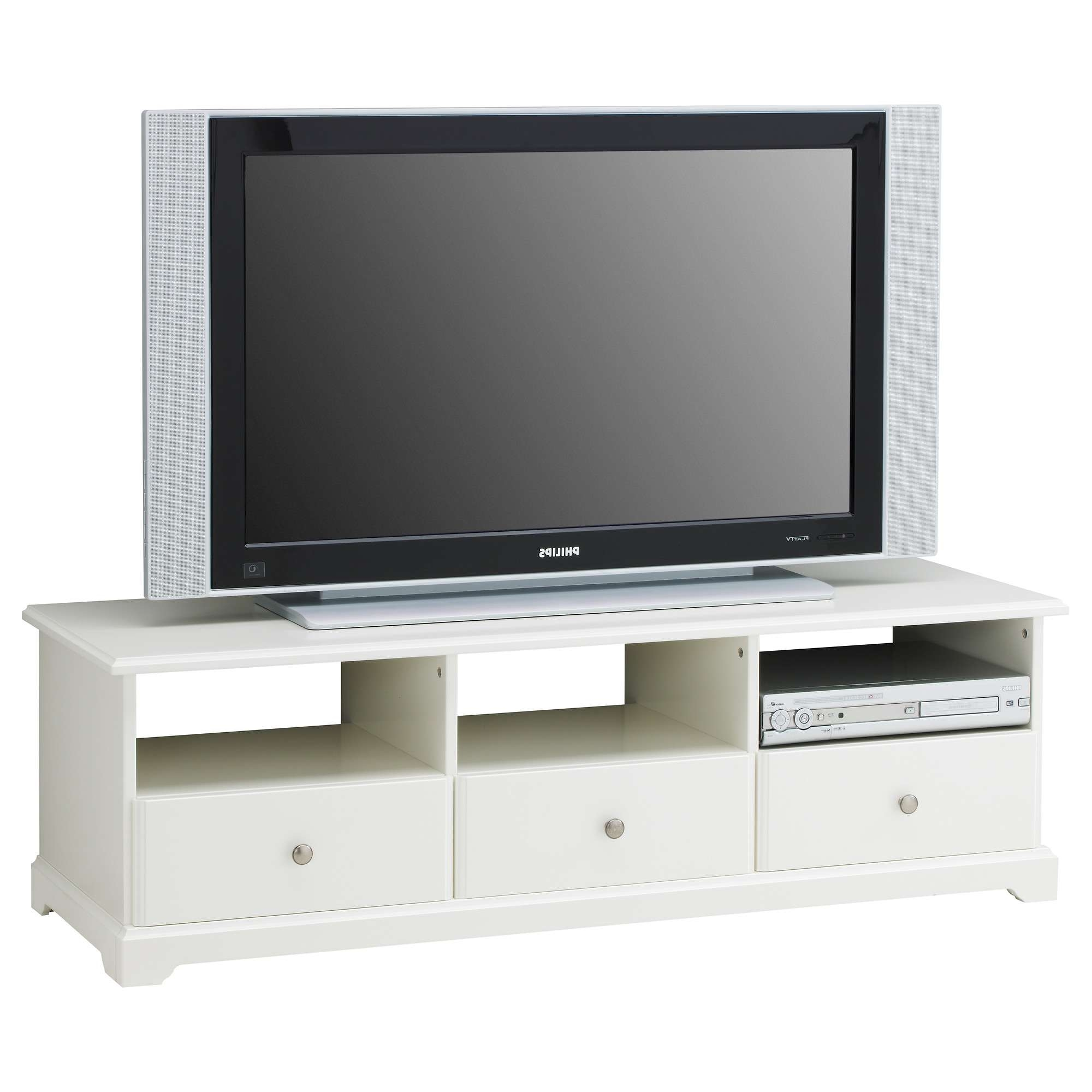 Short White Tv Stand With Drawers And Triple Shelves Of Nice Short For White Tv Stands For Flat Screens (View 12 of 20)