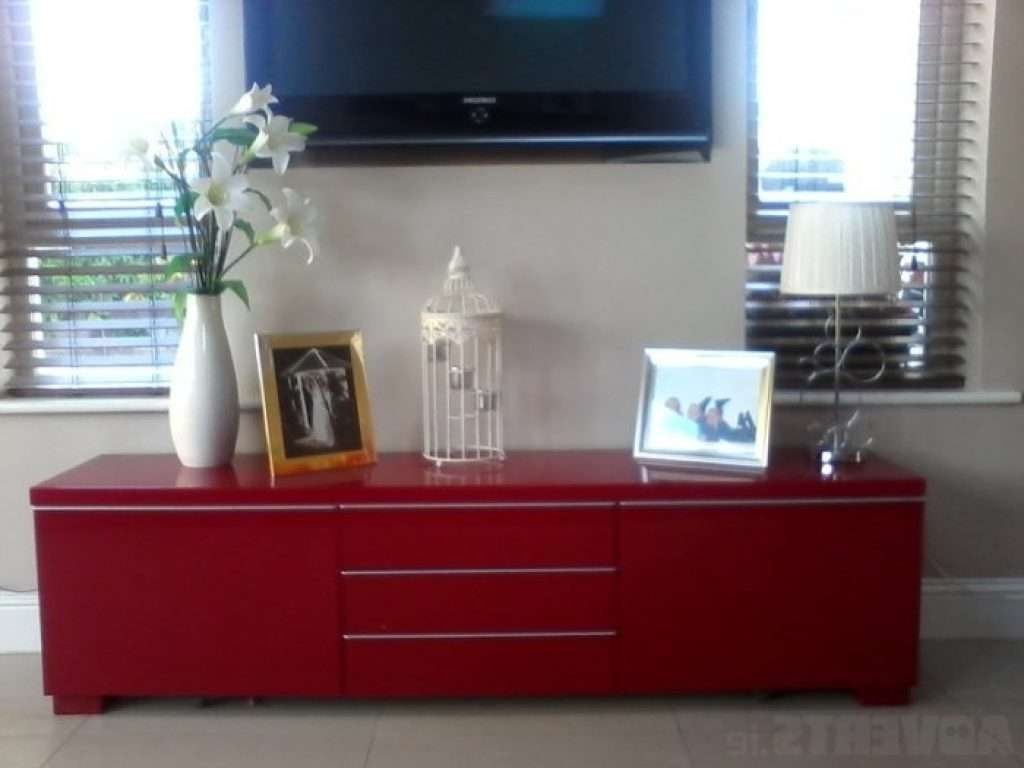 Sideboard Ikea Besta Burs Tv Stand Sideboard High Gloss Red For Pertaining To Red Gloss Tv Stands (View 7 of 15)