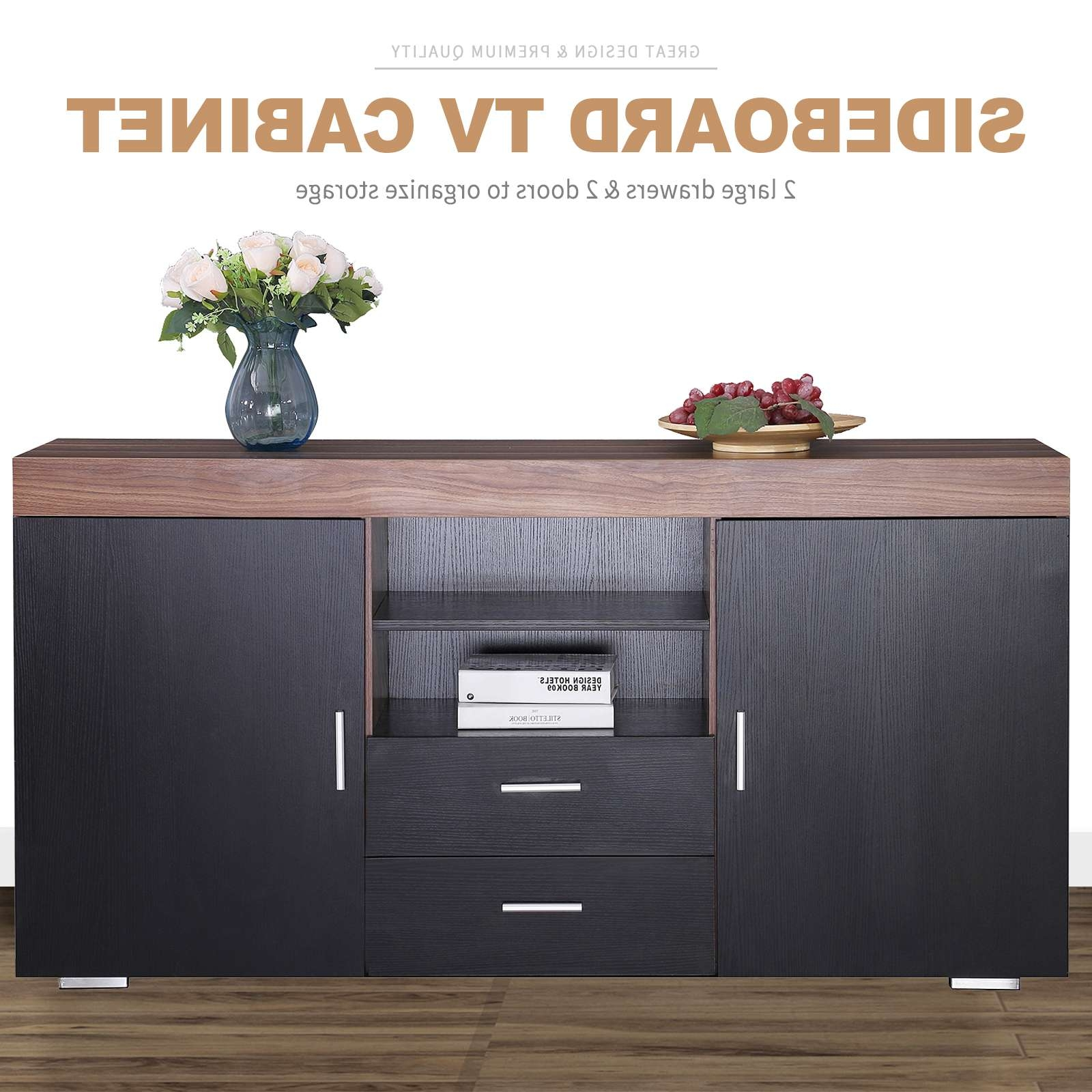 Sideboard Tv Stand Cabinet Cupboard W/2 Doors 2 Drawers Living In Sideboard Tv Stands (View 14 of 20)