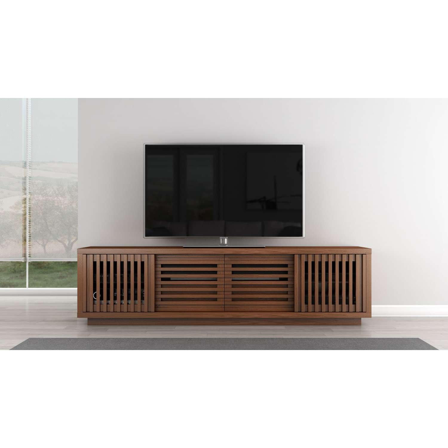 Signature Contemporary Rustic 82 Inch Warm Honey Finished White Intended For Contemporary Oak Tv Stands (View 11 of 15)