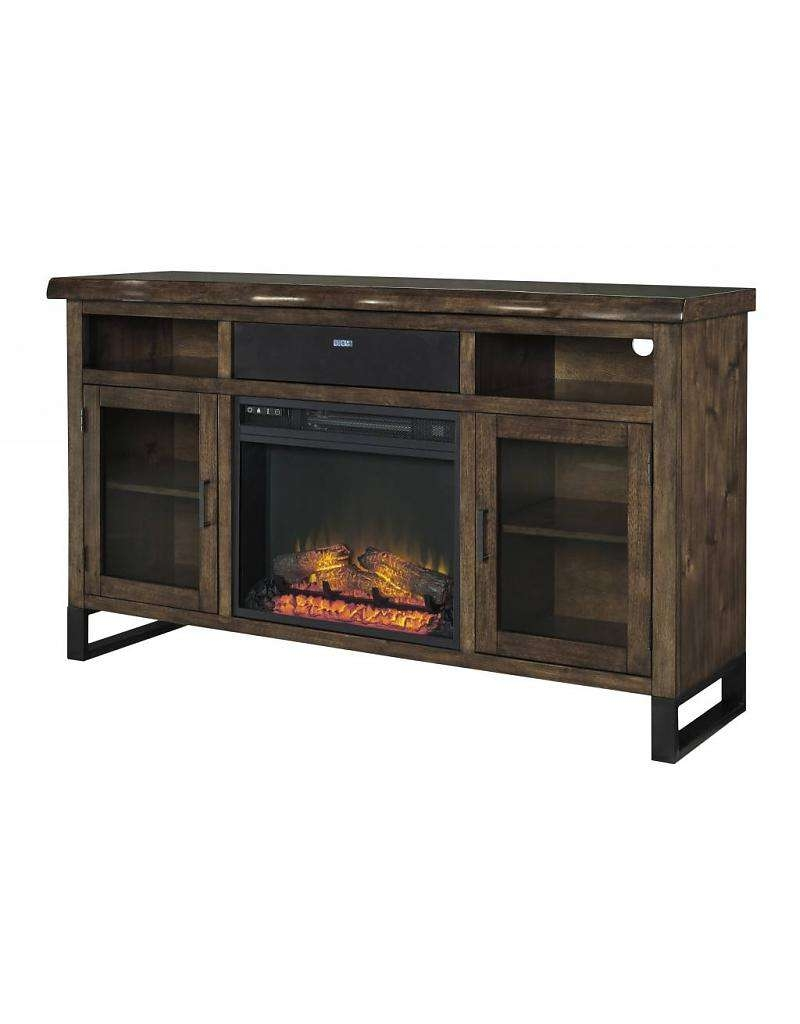 Signature Design Esmarina, Large Tv Stand With Fireplace/audio Intended For Brown Tv Stands (View 17 of 20)