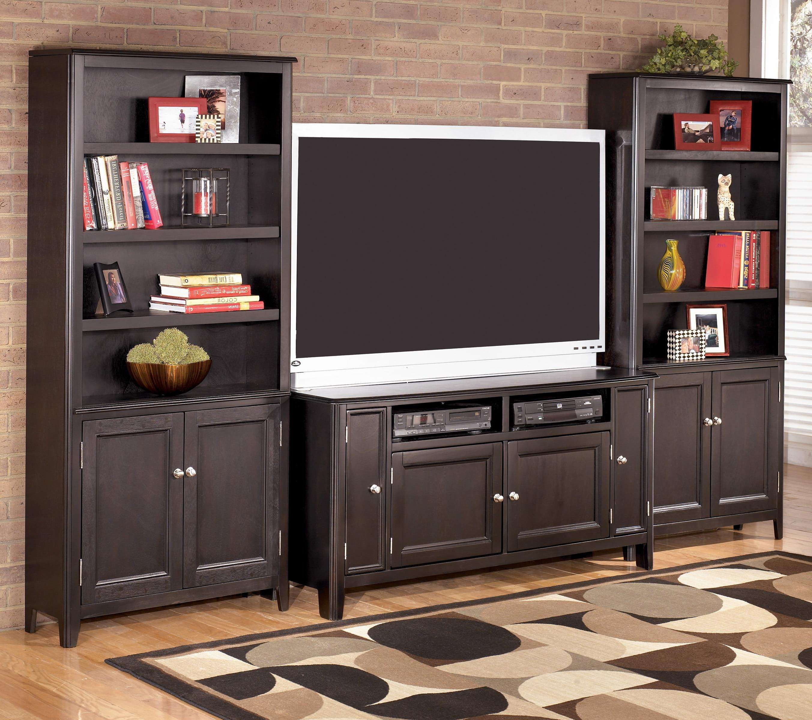 Signature Designashley Carlyle 60 Inch Tv Stand & 2 Large Door Within Tv Stands With Bookcases (View 11 of 15)