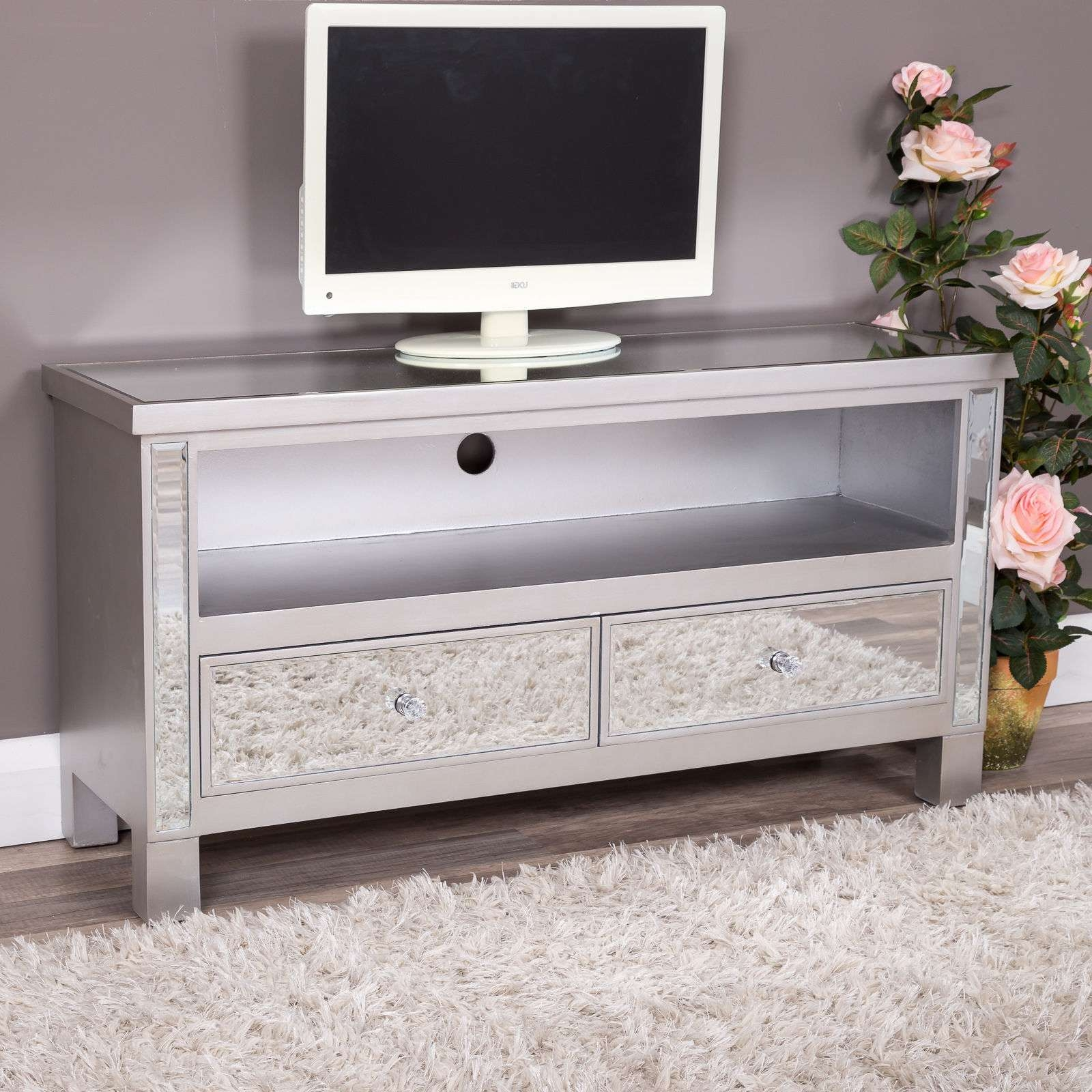 Silver Mirrored Glass 2 Drawer Tv Entertainment Cabinet Stand Unit Pertaining To Mirrored Tv Cabinets (View 17 of 20)
