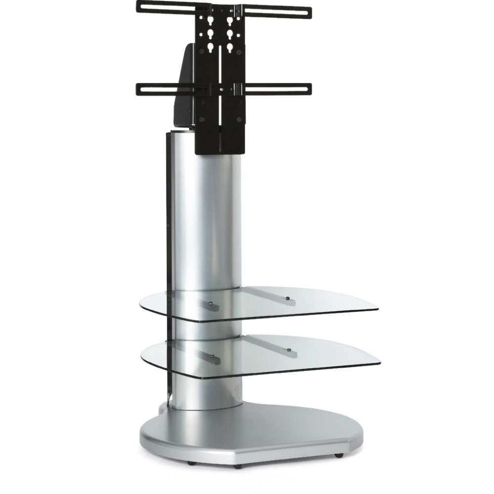 Silver Small Round Tv Stand Clear Glass Shelves Display Regarding Off The Wall Tv Stands (View 11 of 15)