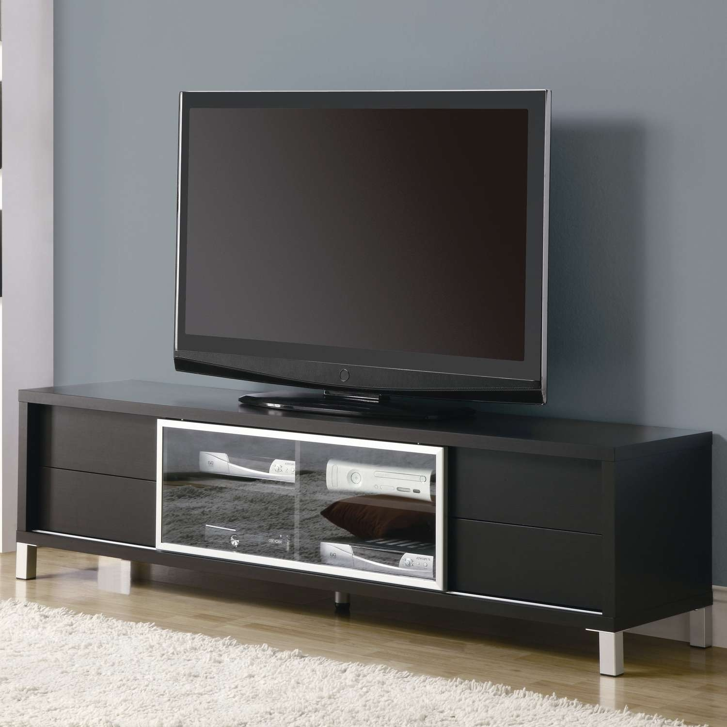 Simple Black Led Tv Right For Unusual Tv Stands On Wood Floor With For Glass Front Tv Stands (View 15 of 20)
