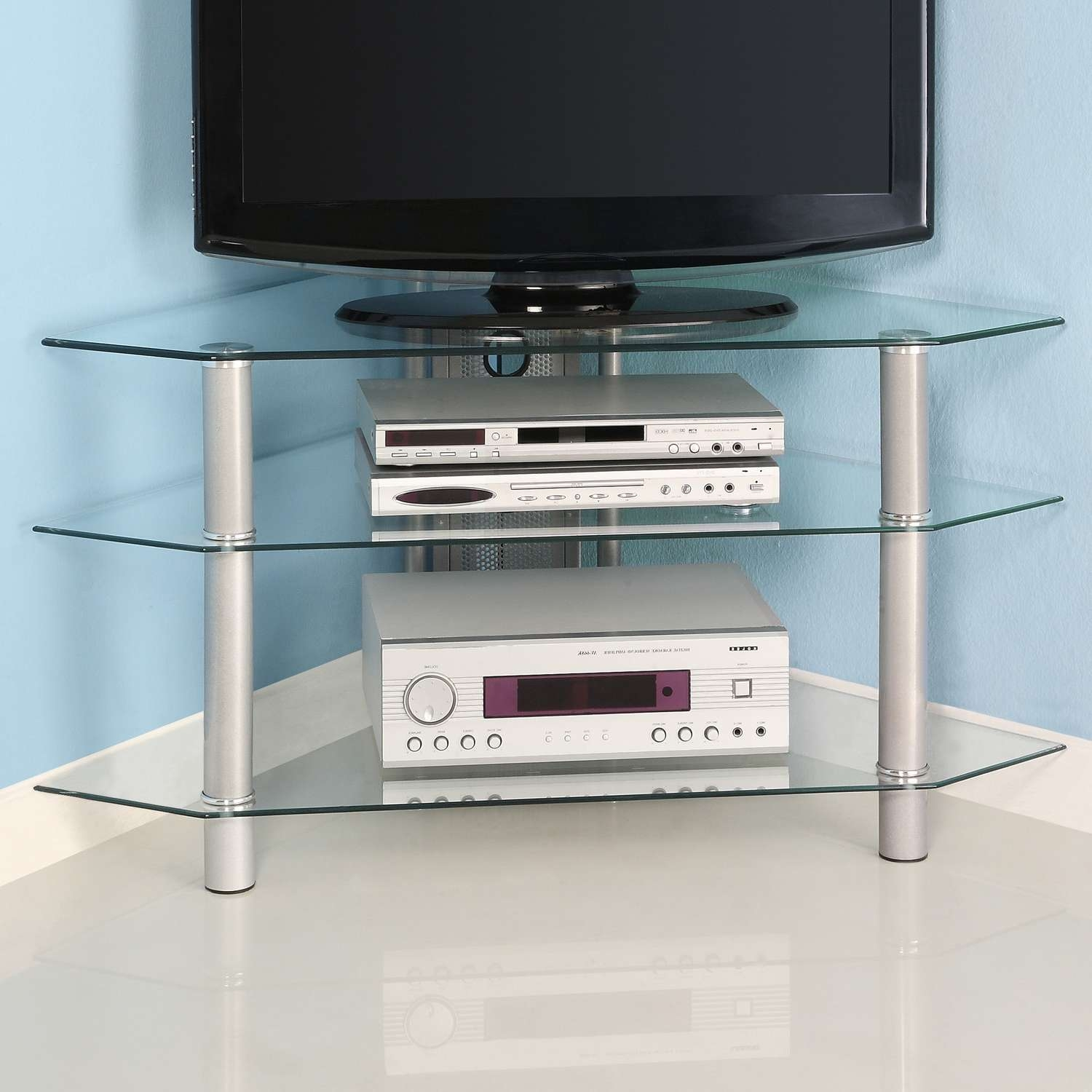 Simple Cool Glass Corner Tv Stands With Stainless Steel Legs Ideas Inside Glass Tv Cabinets (View 12 of 20)