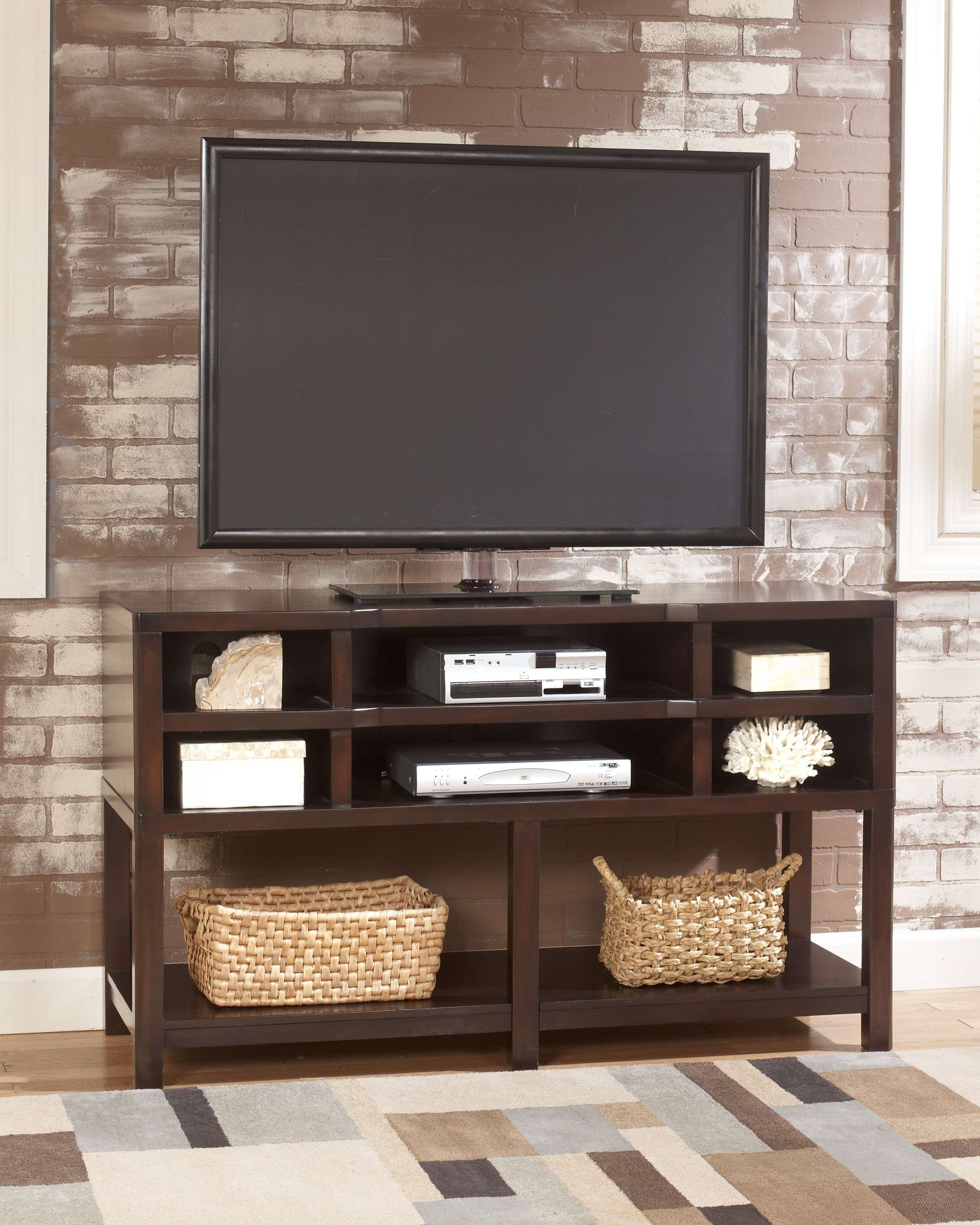 Simple Modern Oak Flat Screen Tv Stand Console Table With Throughout Tv Stands With Storage Baskets (View 8 of 15)