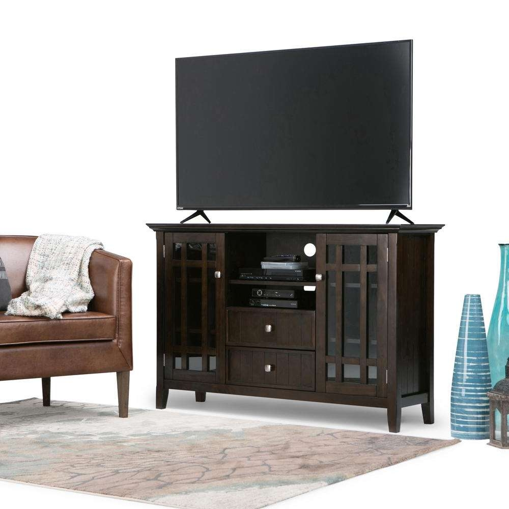 Simpli Home Bedford Tobacco Brown Storage Entertainment Center With Regard To Bedford Tv Stands (View 8 of 15)