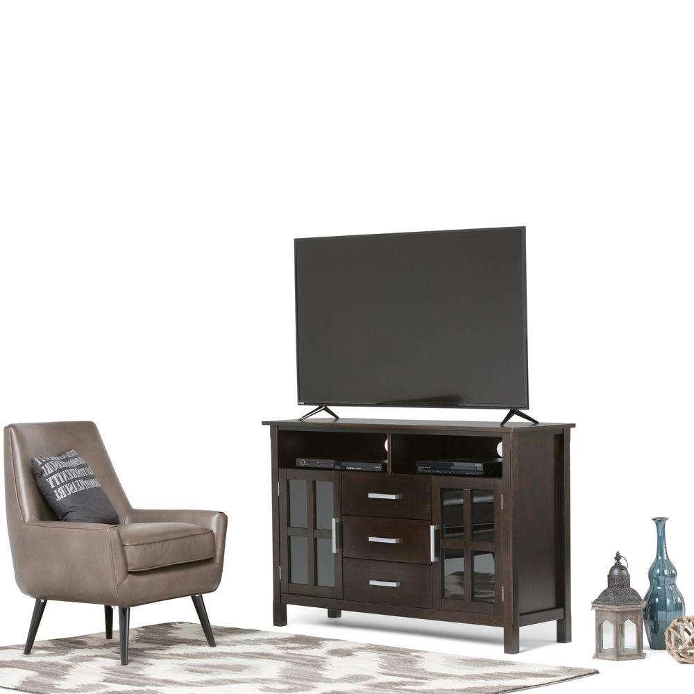 Simpli Home Kitchener Dark Walnut Brown Storage Entertainment Within Dark Walnut Tv Stands (View 12 of 15)