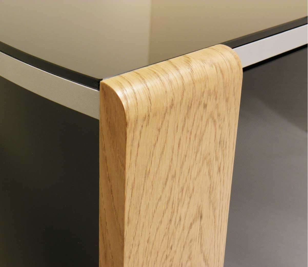 Sirius 850 Oak And Black Corner Tv Cabinet Pertaining To Glass And Oak Tv Stands (View 11 of 15)