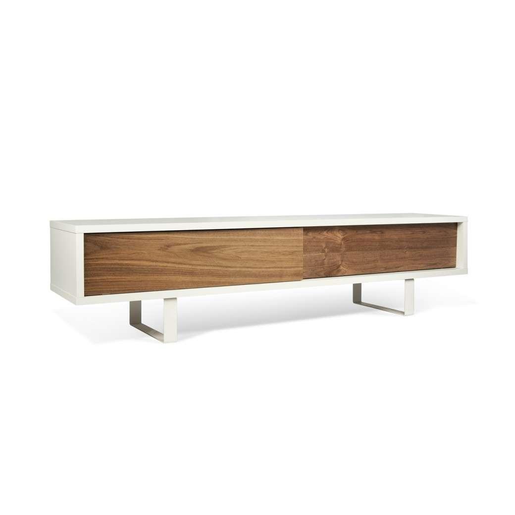 Slide Low Tv Stand | Pure White / Walnut, Tema Home – Modern Manhattan Throughout Walnut Tv Stands (View 12 of 15)
