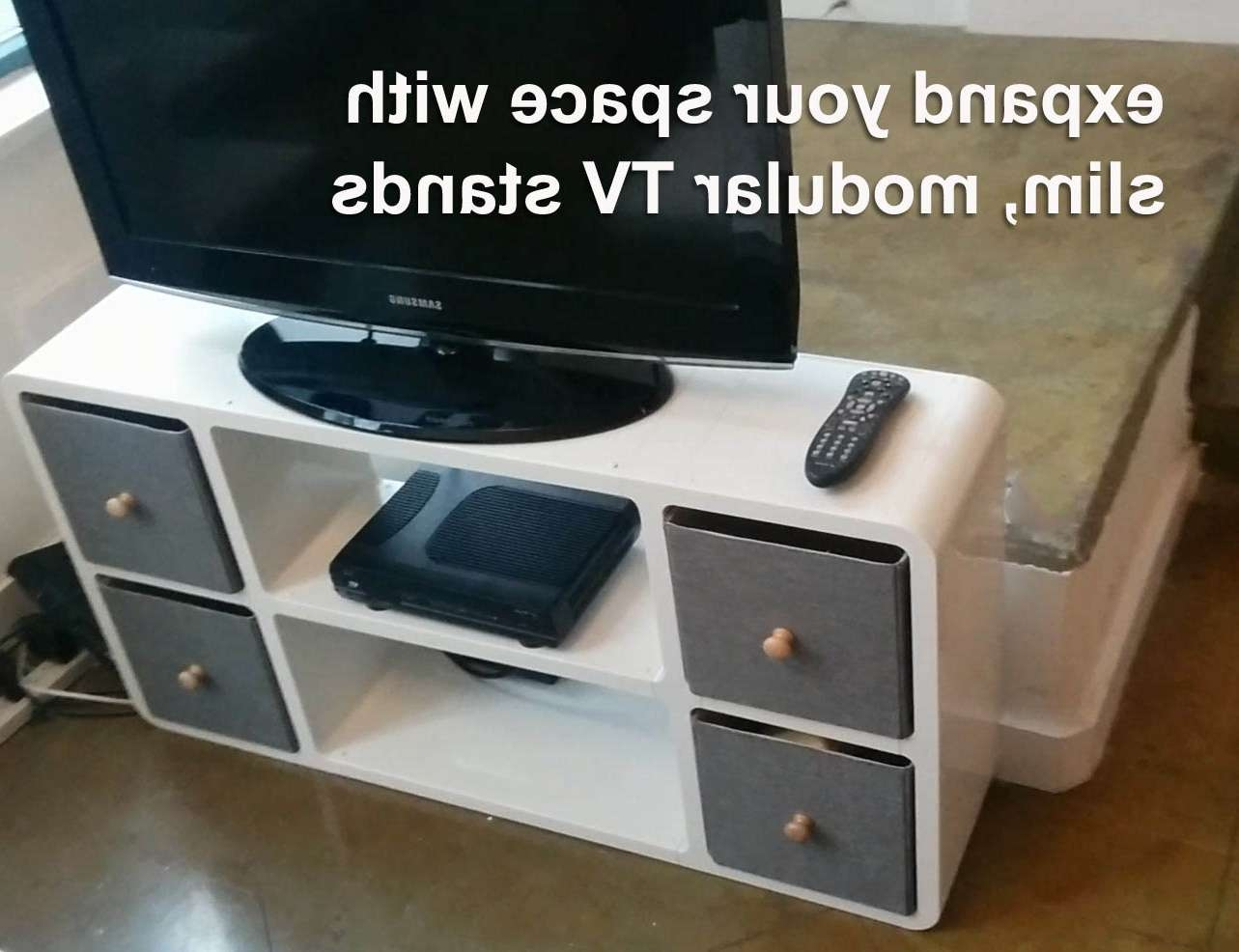 Slim Modular Tv Stand That Fits Anywhere | Expand Furniture With Slim Tv Stands (View 11 of 20)