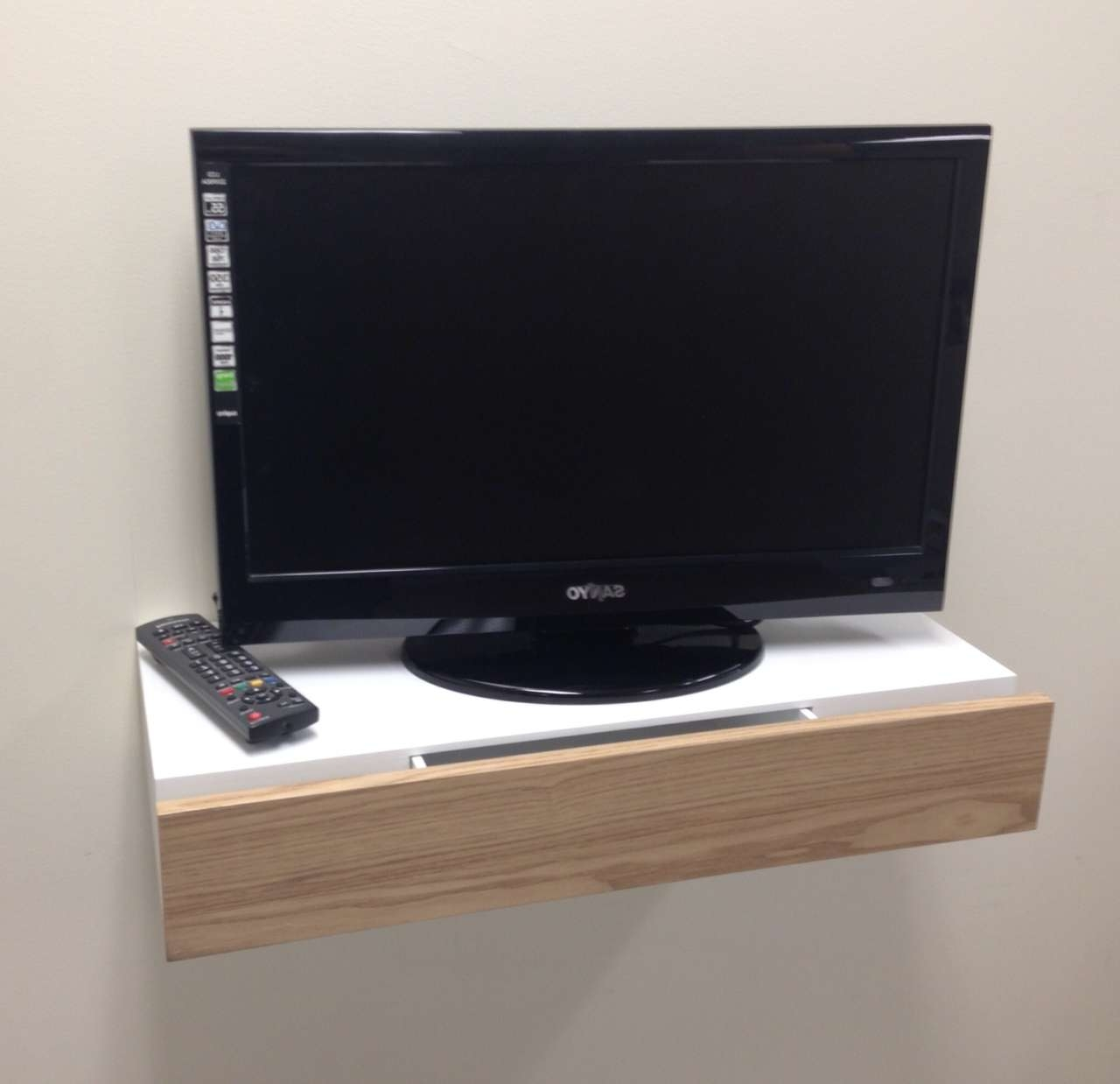 Small And Simple Floating Tv Stand With Drawer For Small Living Regarding Tv Stands For Small Spaces (View 10 of 15)