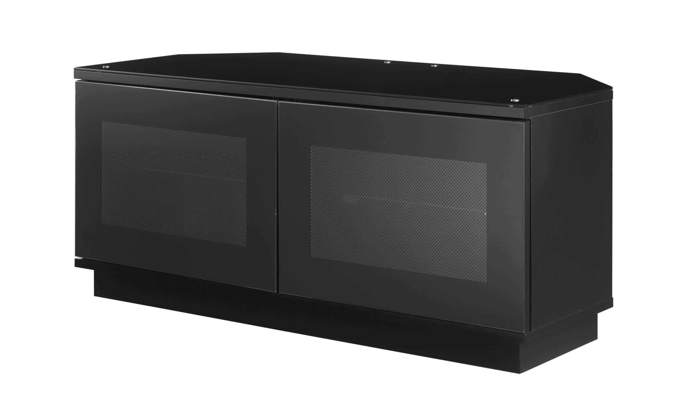 Small Black Tv Stand Cabinet With Door For Corner – Decofurnish Throughout Black Wood Corner Tv Stands (View 7 of 15)