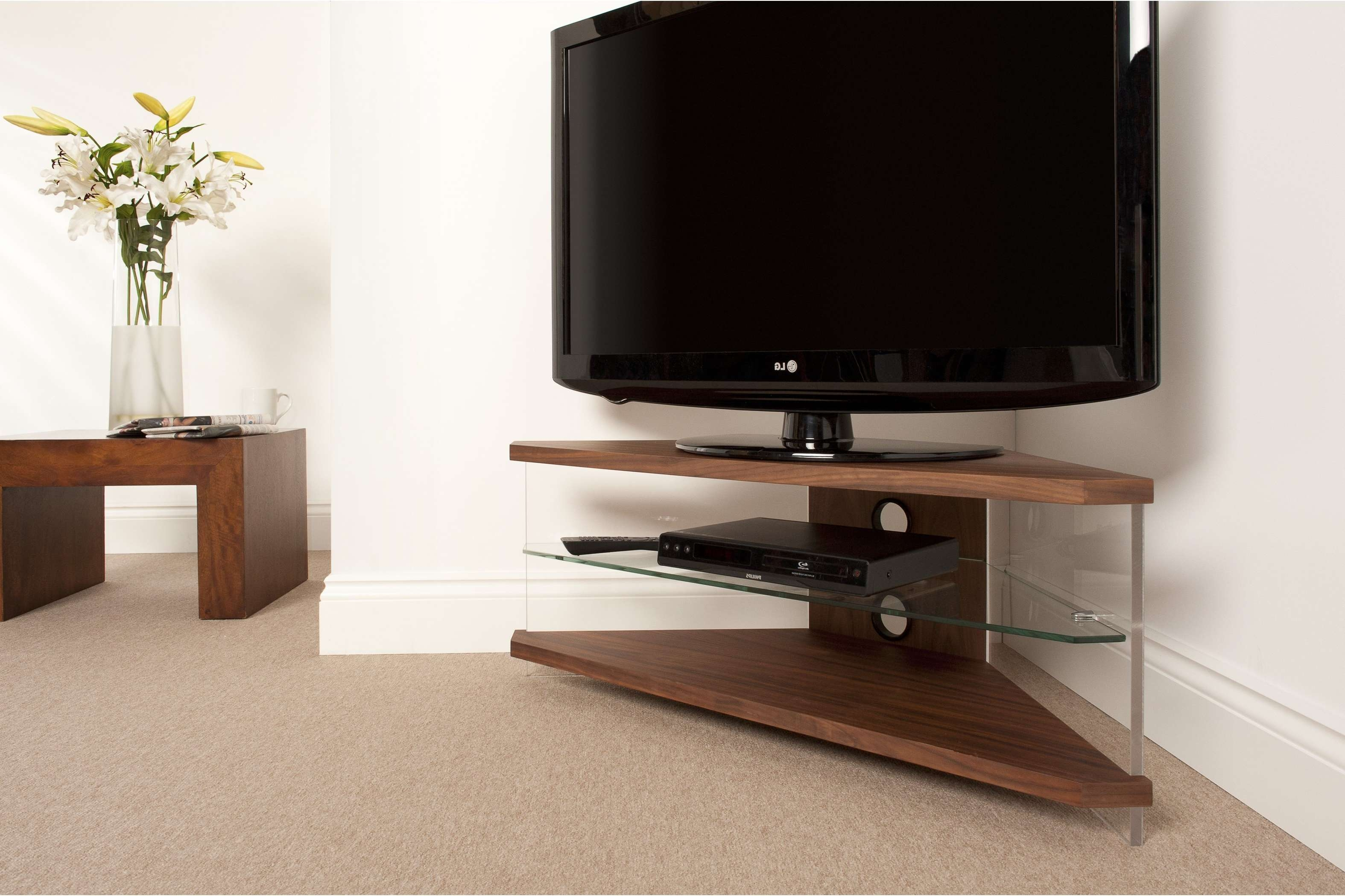 Small Corner Tv Stands Trends And Wood Uk Pictures ~ Hamipara Regarding Triangle Tv Stands (View 9 of 15)