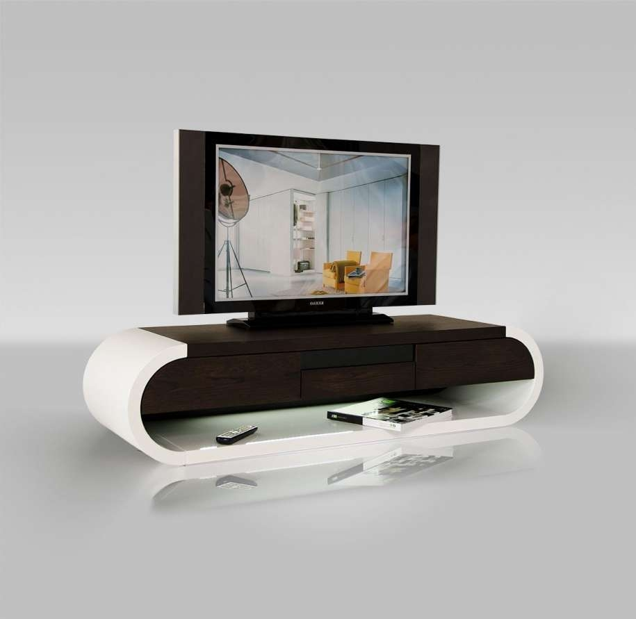 Small Modern And Cool Wood Tv Stand With White And Brown Color In White Oval Tv Stands (View 11 of 15)