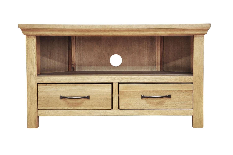 """Small Oak Corner Tv Cabinet Light Oak   40"""" Screen   Wooden Throughout Light Oak Corner Tv Cabinets (View 10 of 20)"""