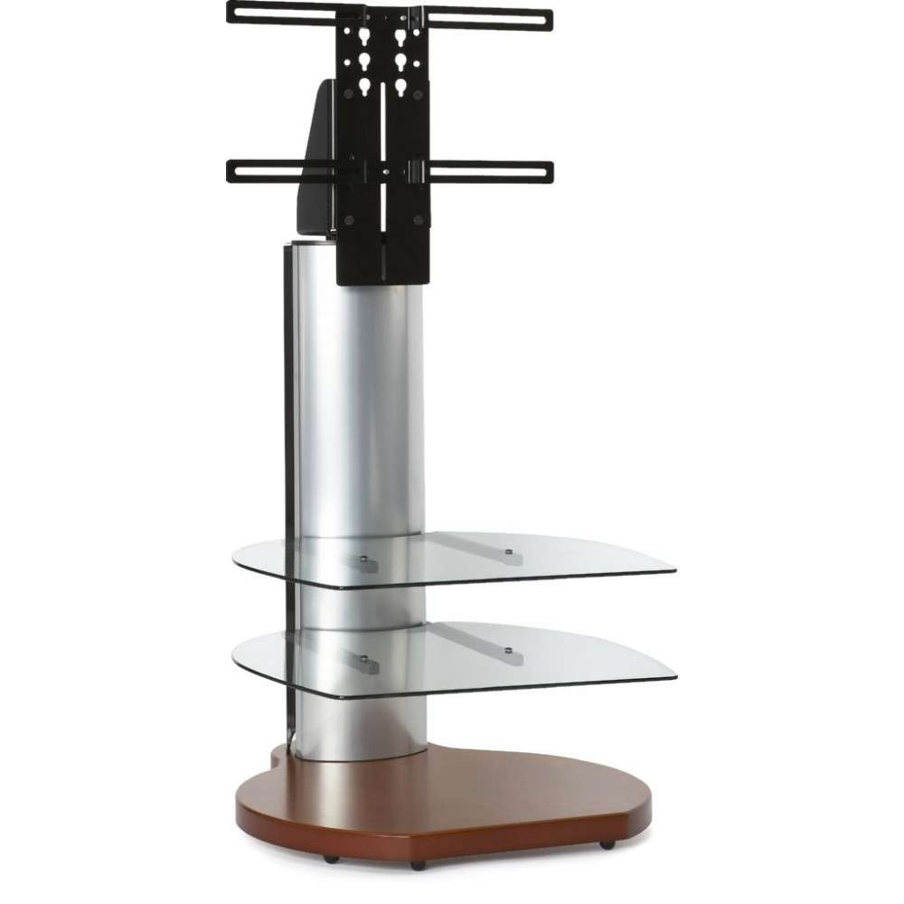 Small Round Tv Stand Cherry Wood Clear Glass Shelves In Off Wall Tv Stands (View 13 of 15)