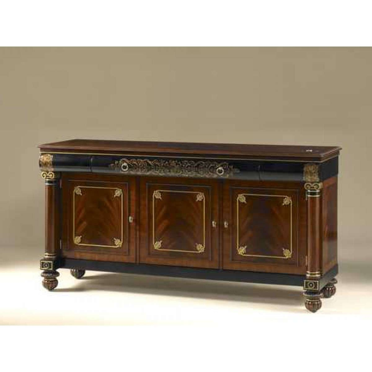 Smith Mahogany And Black Lacquer Finished Tv Stand, Handpainted Pertaining To Mahogany Tv Stands (View 14 of 15)