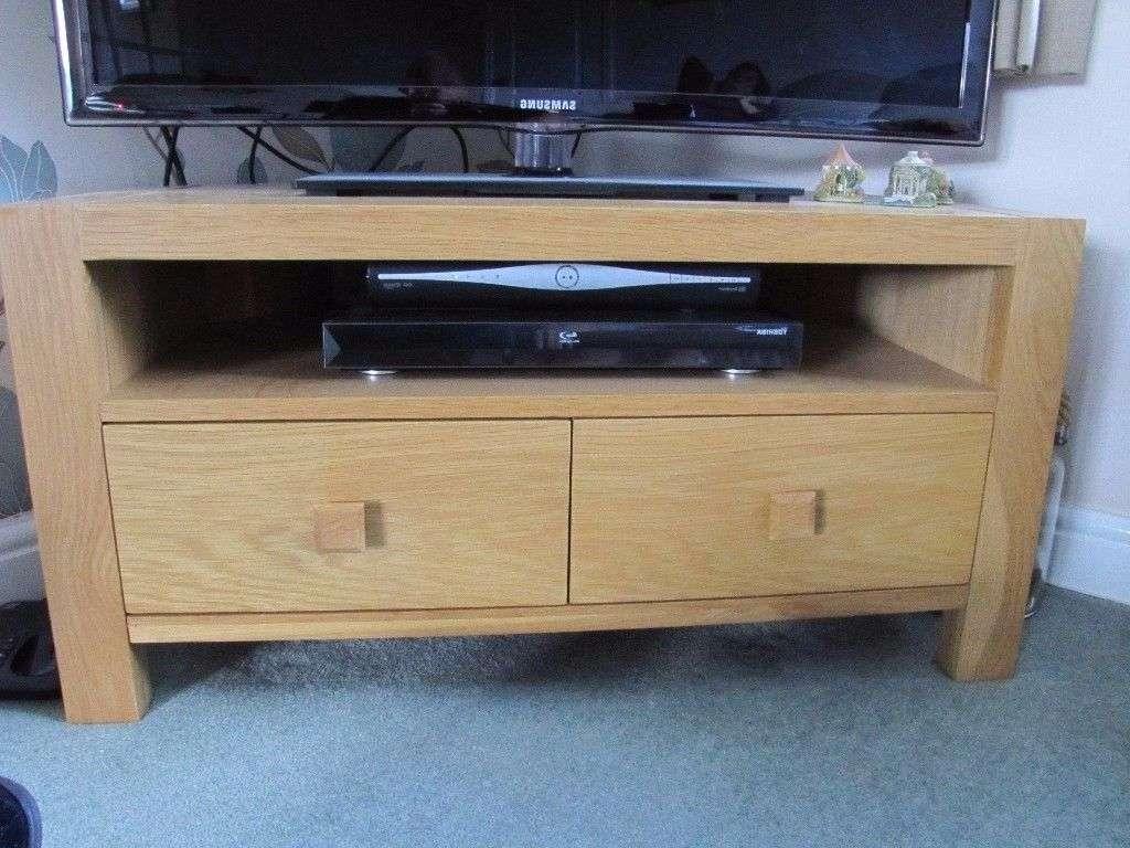 Solid Light Oak Corner Tv Cabinet   In Huddersfield, West Within Light Oak Corner Tv Cabinets (View 7 of 20)