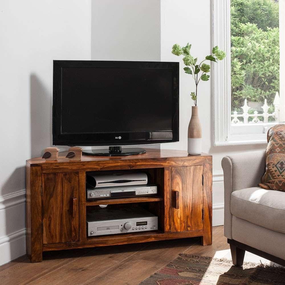 Solid Sheesham Wood Television Stand | Corner Tv Unit | Casa Bella Regarding Real Wood Corner Tv Stands (View 3 of 15)