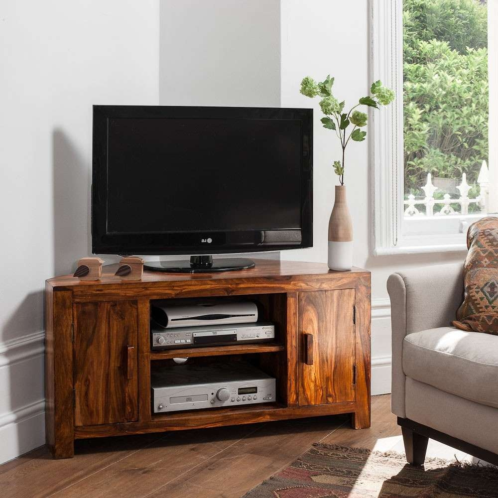 Solid Sheesham Wood Television Stand | Corner Tv Unit | Casa Bella Throughout Wooden Tv Stands Corner Units (View 11 of 15)