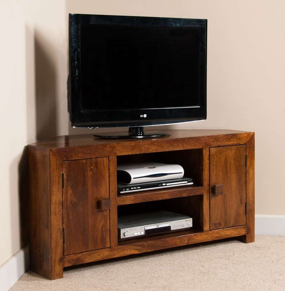 Solid Wood Corner Tv Cabinet – Large | Dakota Mango Furniture With Regard To Corner Tv Cabinets (View 14 of 20)