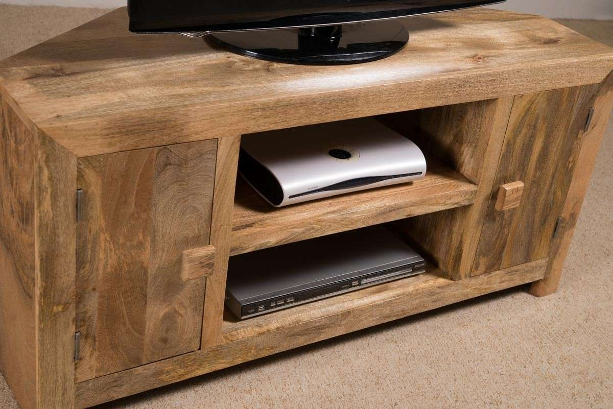 Solid Wood Corner Tv Cabinet – Large | Dakota Mango Furniture With Regard To Solid Oak Corner Tv Cabinets (View 8 of 20)