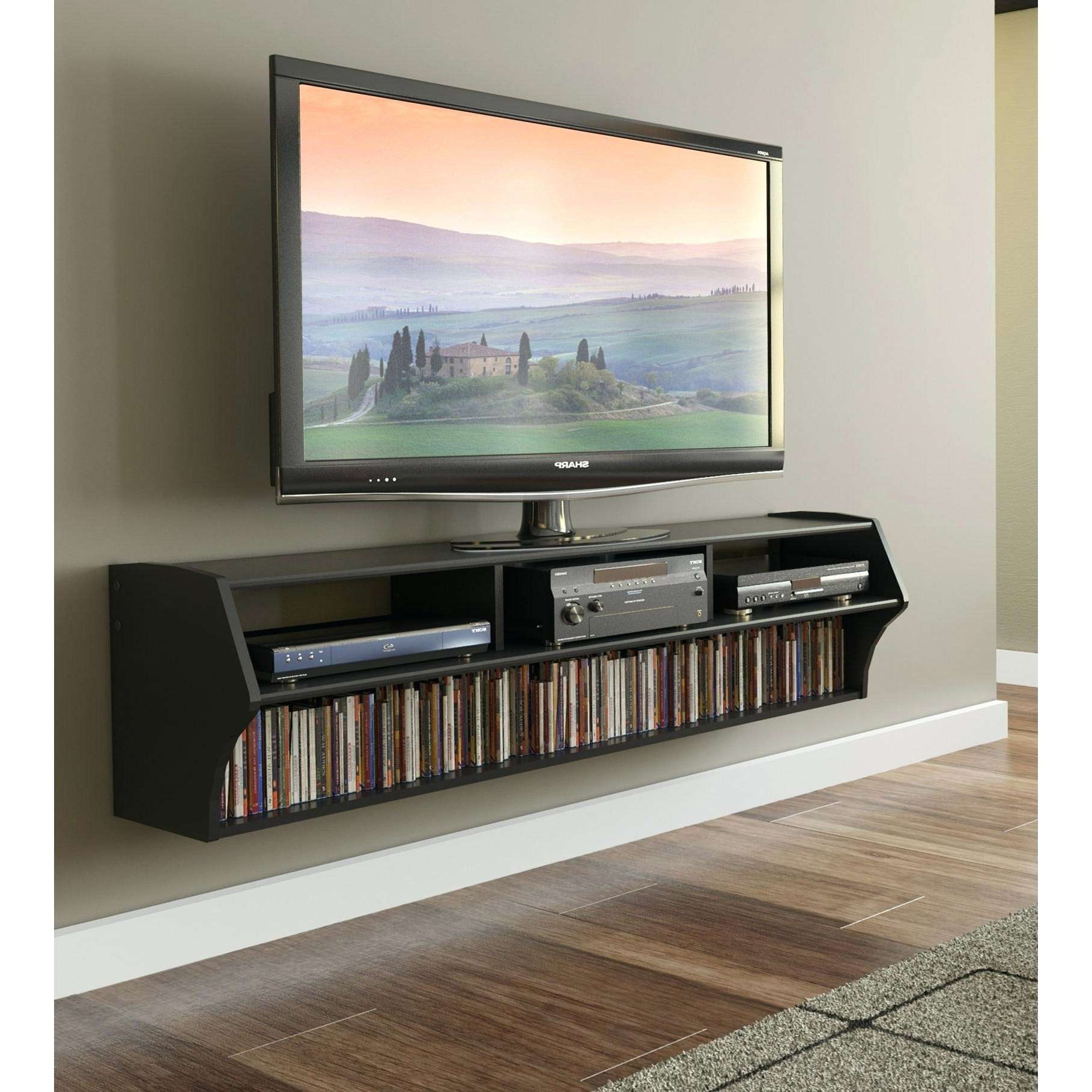 Solid Wood Floating Tv Console With Two Open Storage And Single For Single Shelf Tv Stands (View 11 of 20)