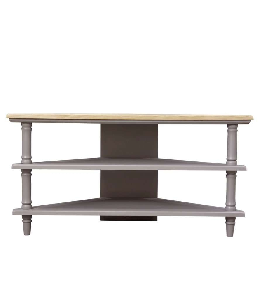 Solid Wood Grey Corner Tv Unit Stand Two Toned And Open Shelves In Grey Corner Tv Stands (View 9 of 15)