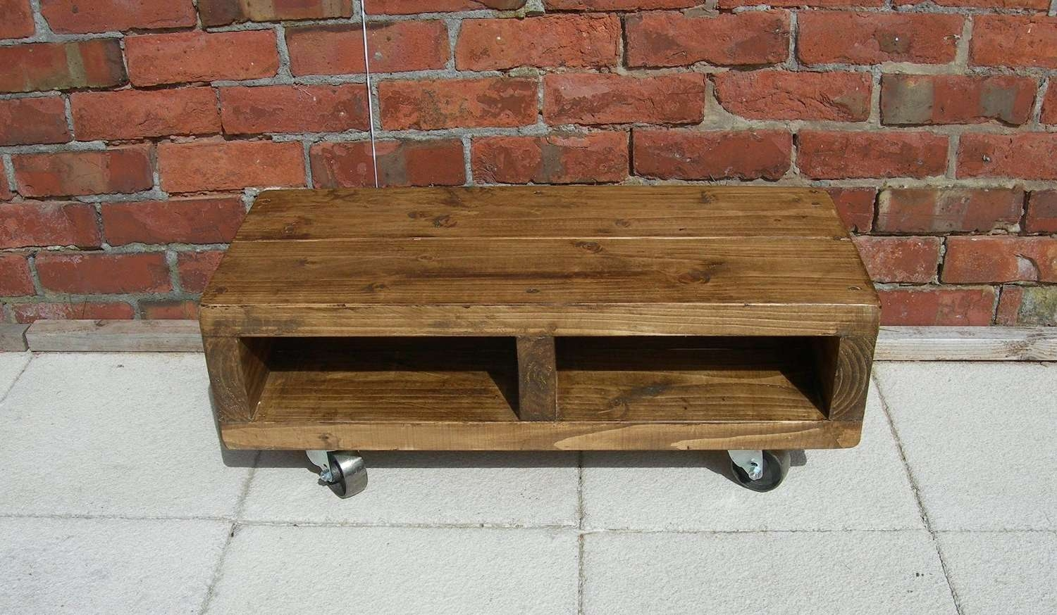 Solid Wood Low Tv Unit With Cast Iron Wheels, 90 Cm Contemporary Regarding Cast Iron Tv Stands (View 8 of 15)
