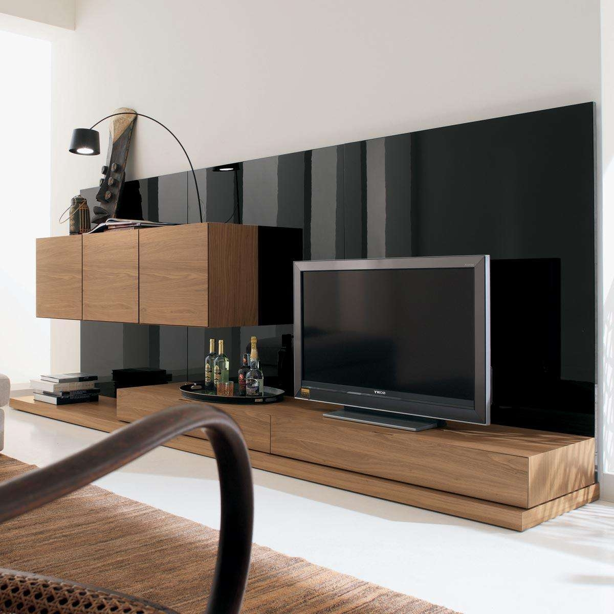 Solid Wood Tv Stand Also Long Tv Stand And Black Wall Living Room Intended For Contemporary Tv Cabinets (View 12 of 20)