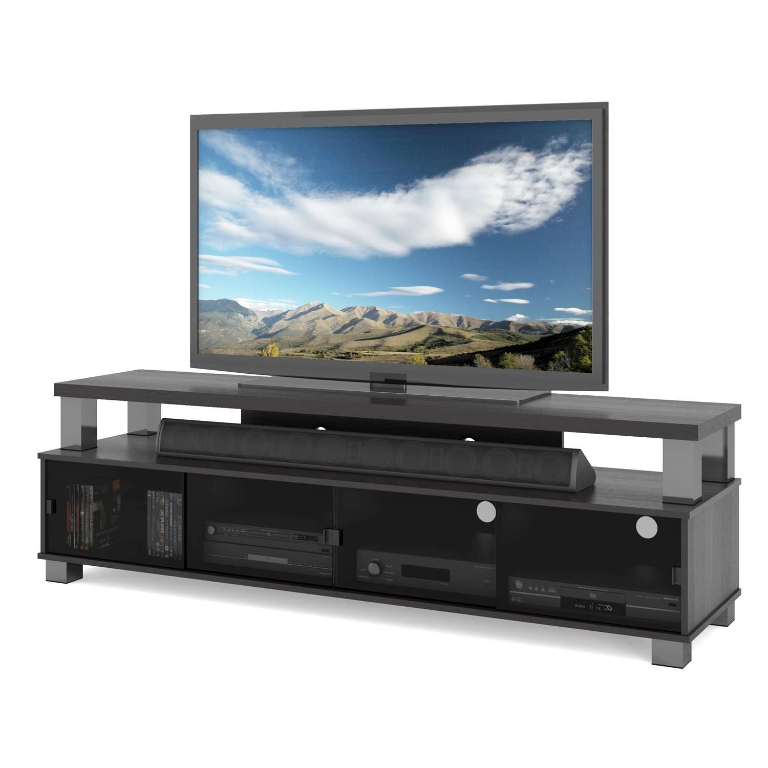 "Sonax Bromley 75"" Ravenwood Black 2 Tier Tv Stand – B 003 Rbt Inside Sonax Tv Stands (View 11 of 15)"