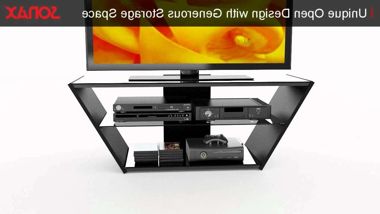 Sonax Vn 5540 Venice 54 Inch Midnight Black And Glass Tv Stand Pertaining To Sonax Tv Stands (View 14 of 15)
