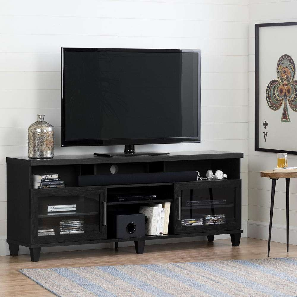South Shore Adrian Black Oak Tv Stand For Tvs Up To 75 In (View 10 of 15)