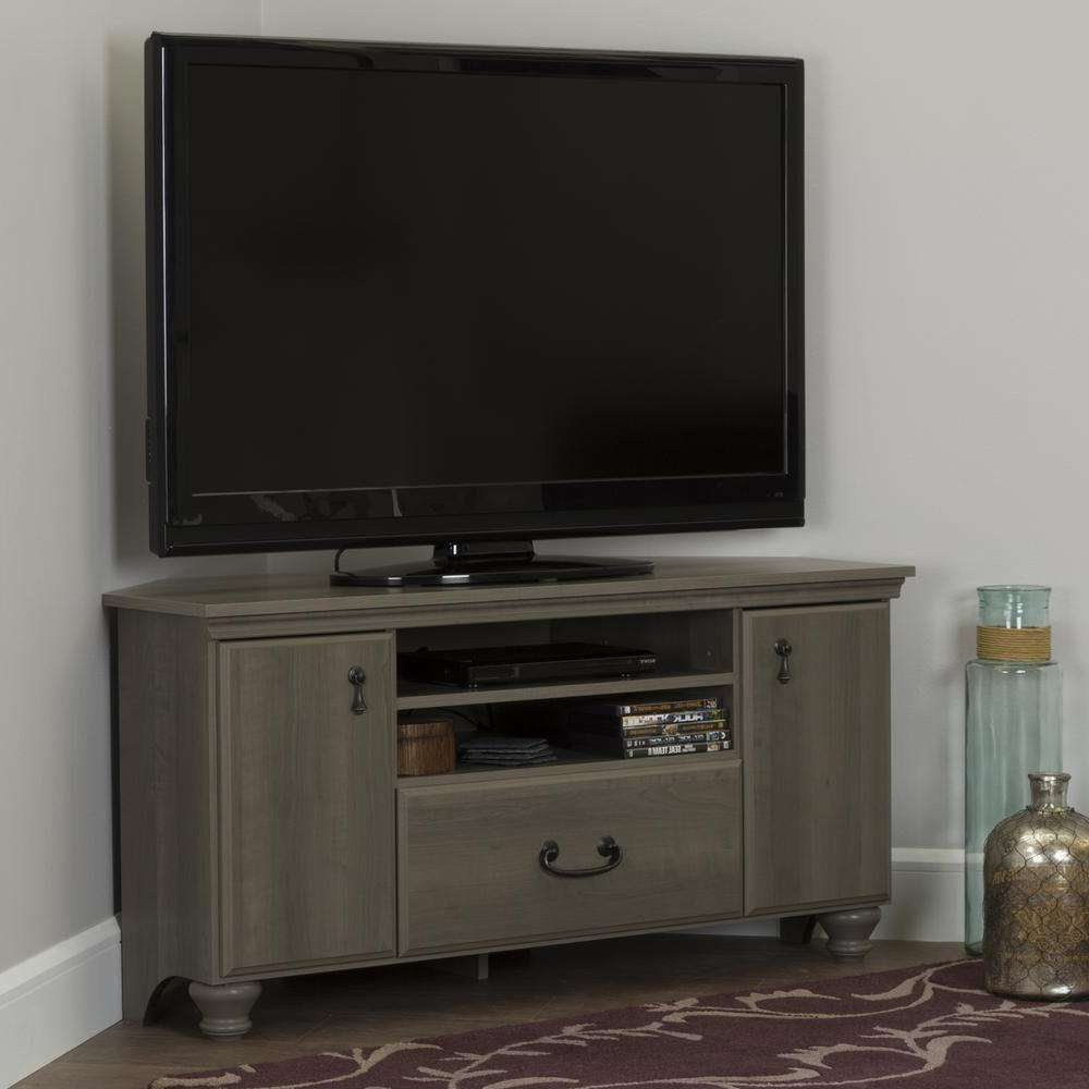 South Shore Noble Gray Maple Storage Entertainment Center 10381 With Grey Corner Tv Stands (View 10 of 15)