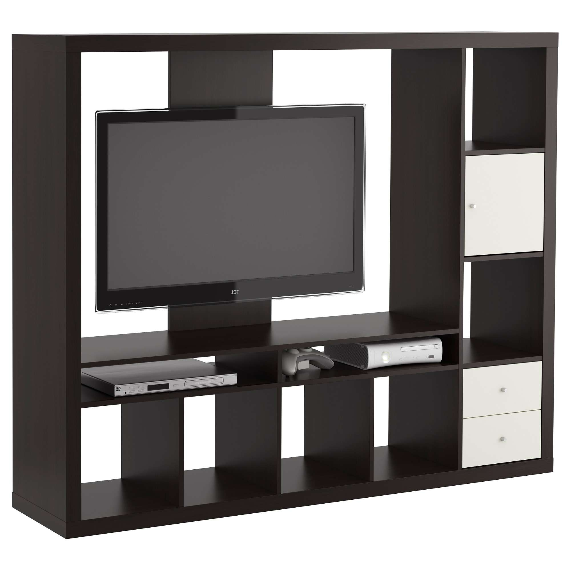 Square Black Shelving Units With White Wooden Drawers And With Regard To Square Tv Stands (View 12 of 15)