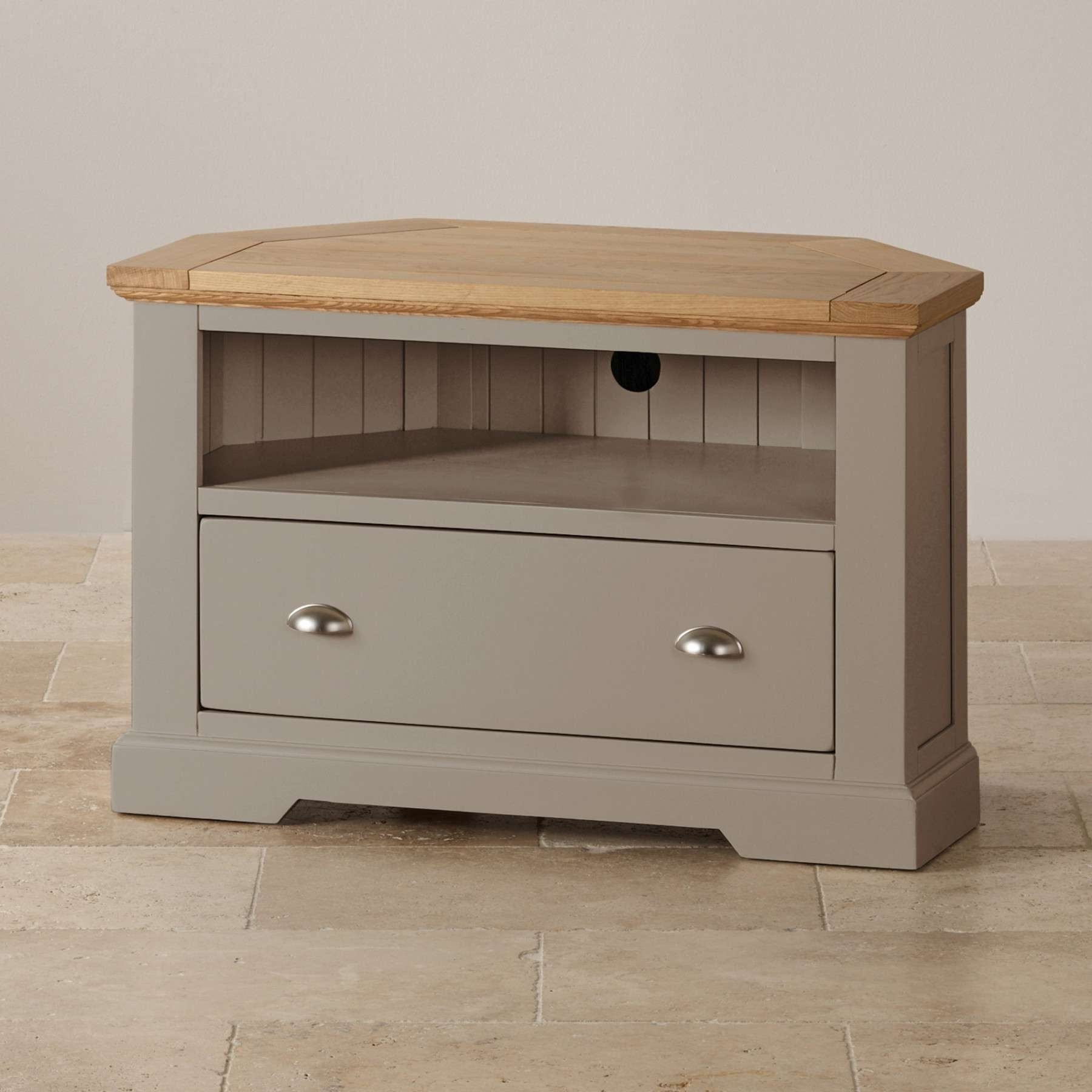 St Ives Natural Oak And Light Gray Painted Corner Tv Stand Oak For Light Oak Corner Tv Stands (View 15 of 20)