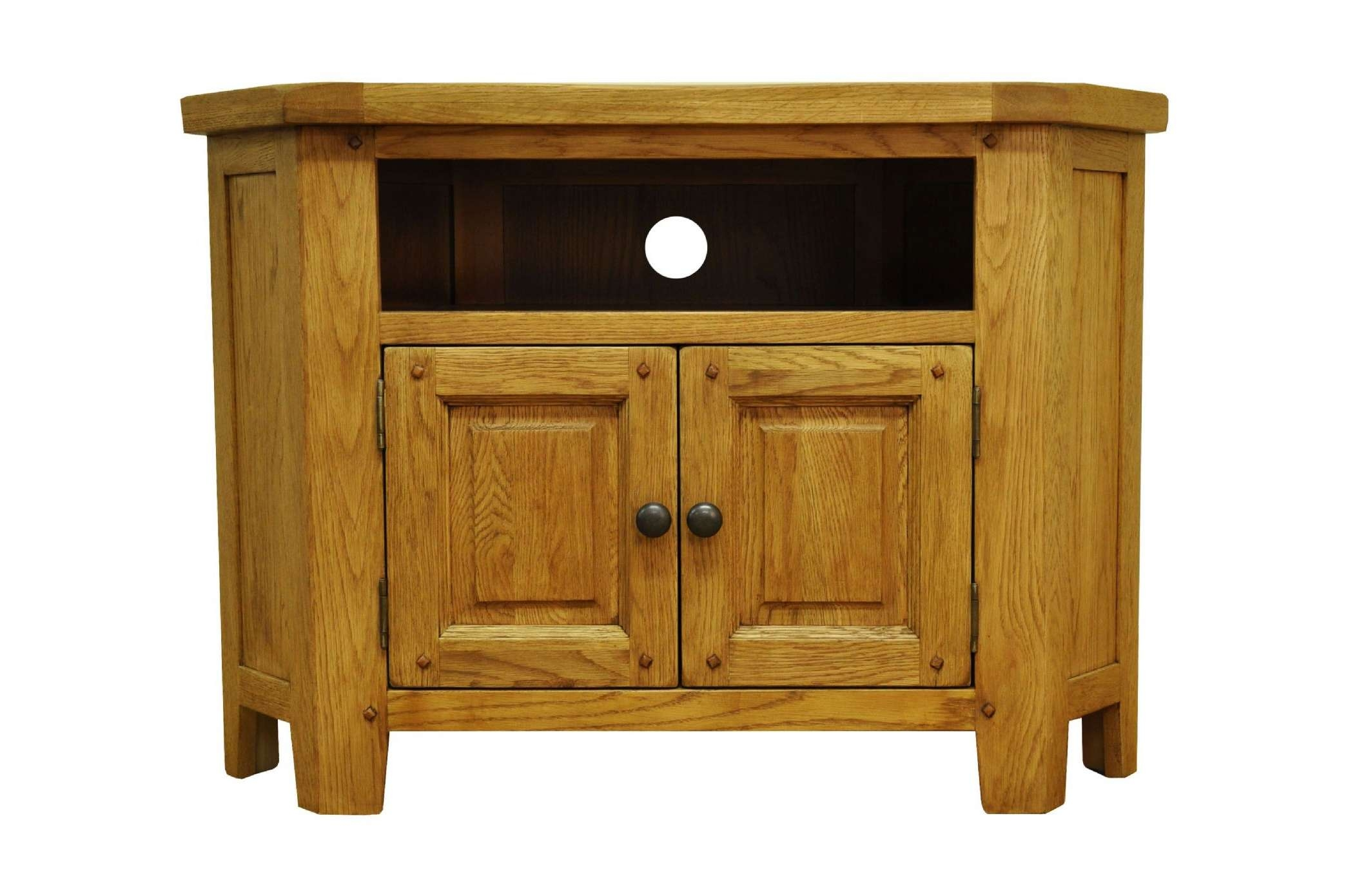 Stratford Rustic Oak Living Corner Tv Unit Cabinet Strat Ctv With Regard To Rustic Corner Tv Stands (View 17 of 20)