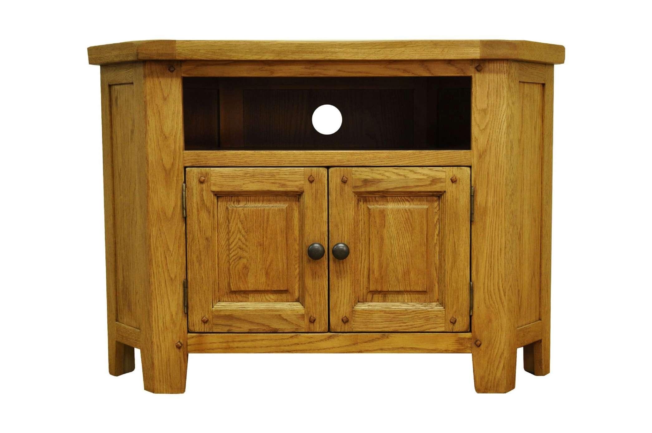 Stratford Rustic Oak Living Corner Tv Unit Cabinet Strat Ctv With Regard To Rustic Corner Tv Stands (View 13 of 15)
