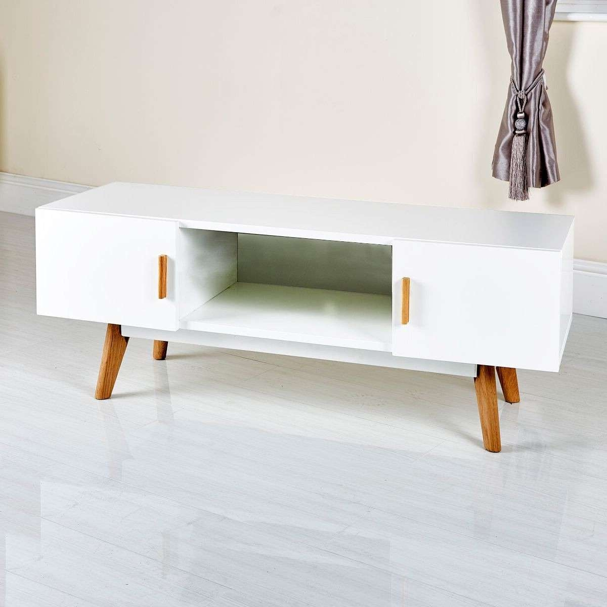 Stylish White Modern Tv Stand From Abreo Abreo Home Furniture With Scandinavian Tv Stands (View 3 of 15)