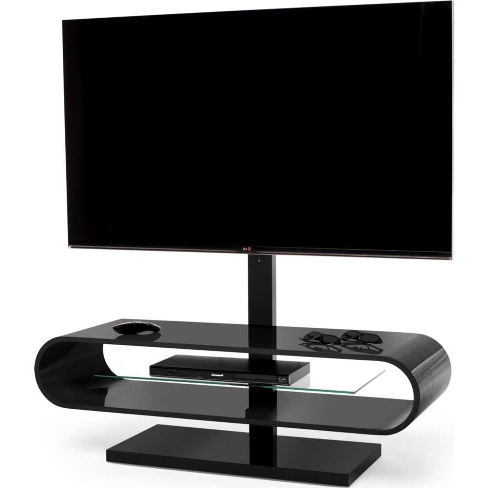 Suitable For Displays Up To 60 Inches; A Central Glass Shelf Is In Ovid Tv Stands Black (View 6 of 20)