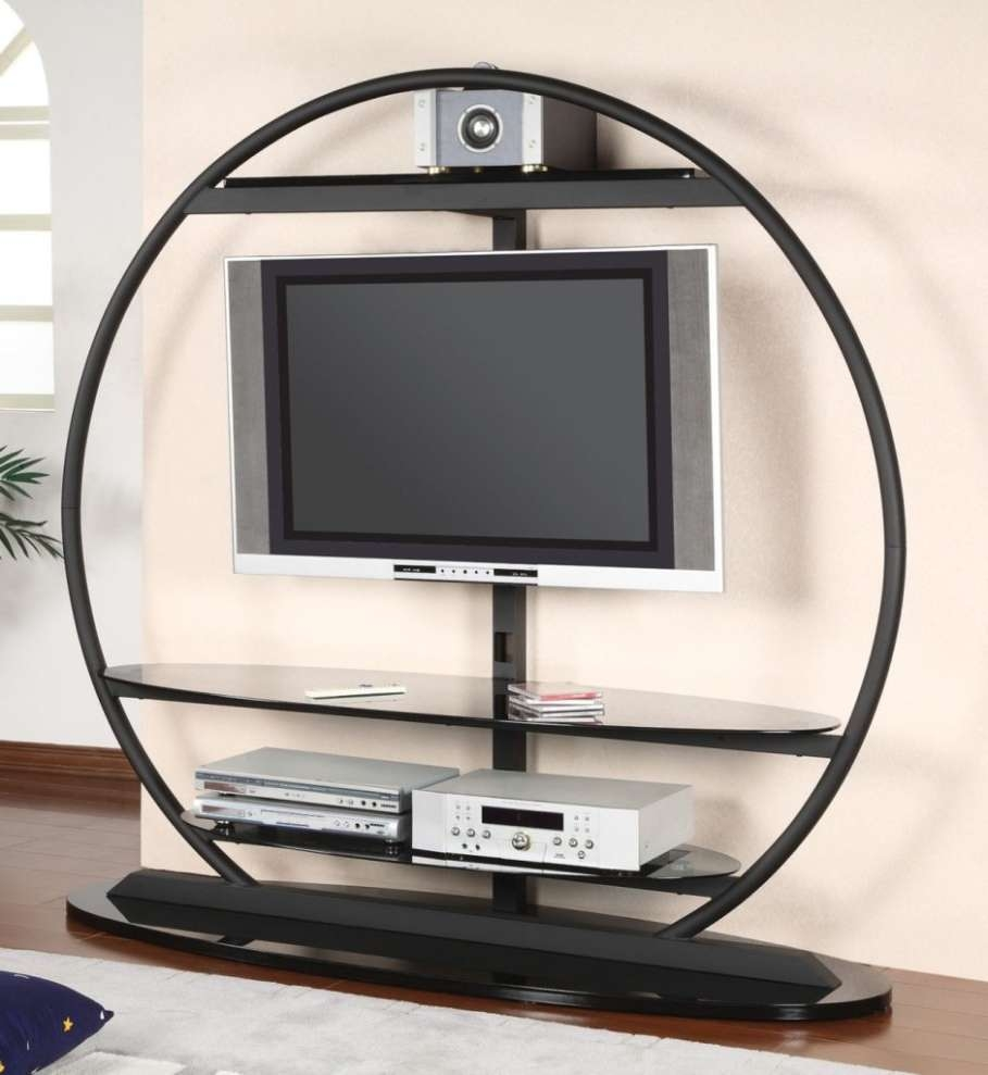 Superb Round Unusual Tv Stands With Led Tv Above Chic Dvd Player Inside Unusual Tv Stands (View 9 of 15)