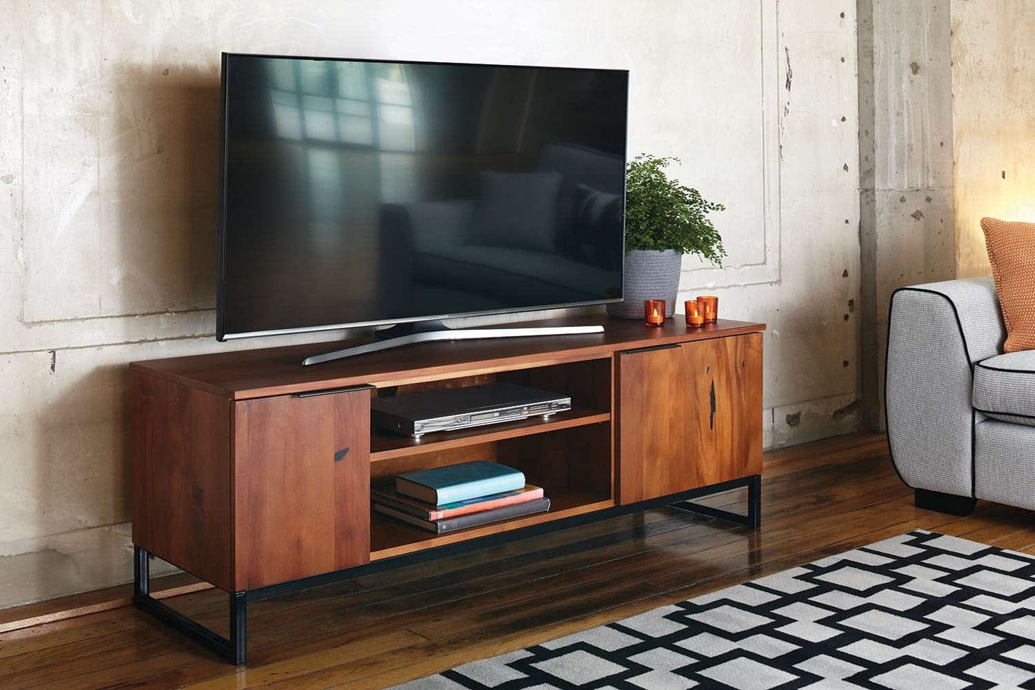 Supreme Flat Screen Narrow Tv Stand And Magazine Shelf Brown Pertaining To Honey Oak Tv Stands (View 3 of 15)