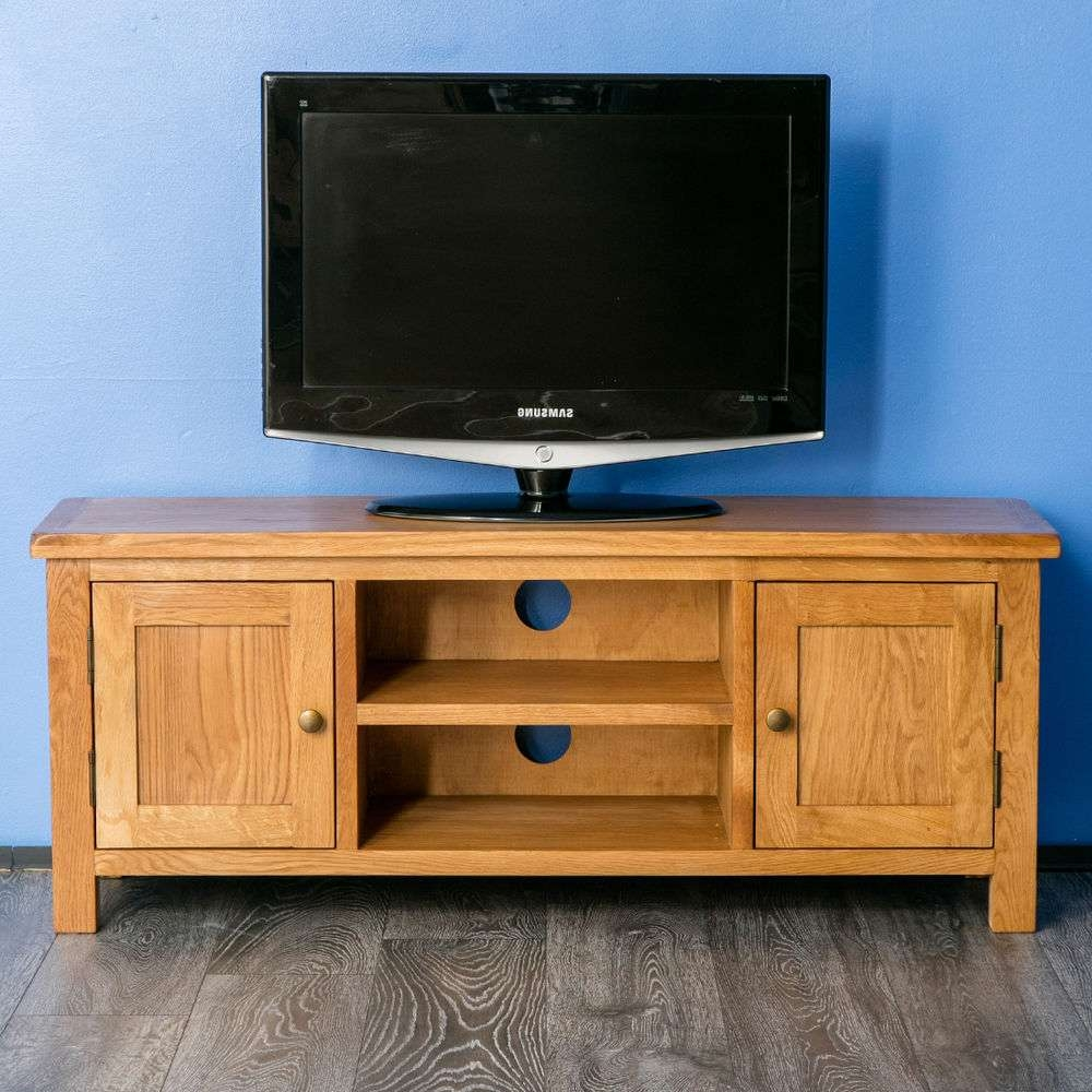 Surrey Oak Large Tv Stand / Oak Plasma Tv Unit / Cabinet / Brand With Regard To Oak Tv Stands (View 11 of 15)