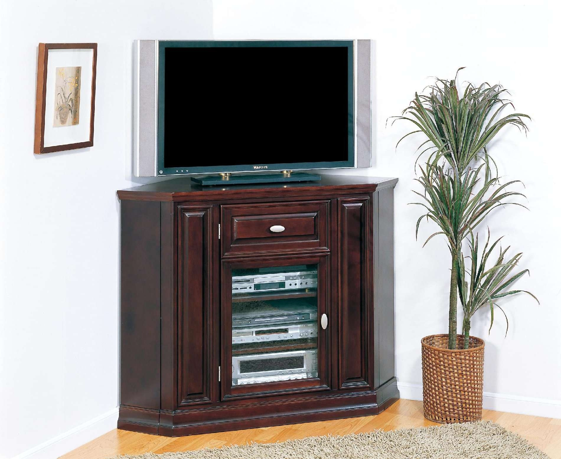 Tall Corner Tv Cabinet With Glass And Wood Doors Plus Drawer Of Intended For Corner Tv Stands With Drawers (View 12 of 15)