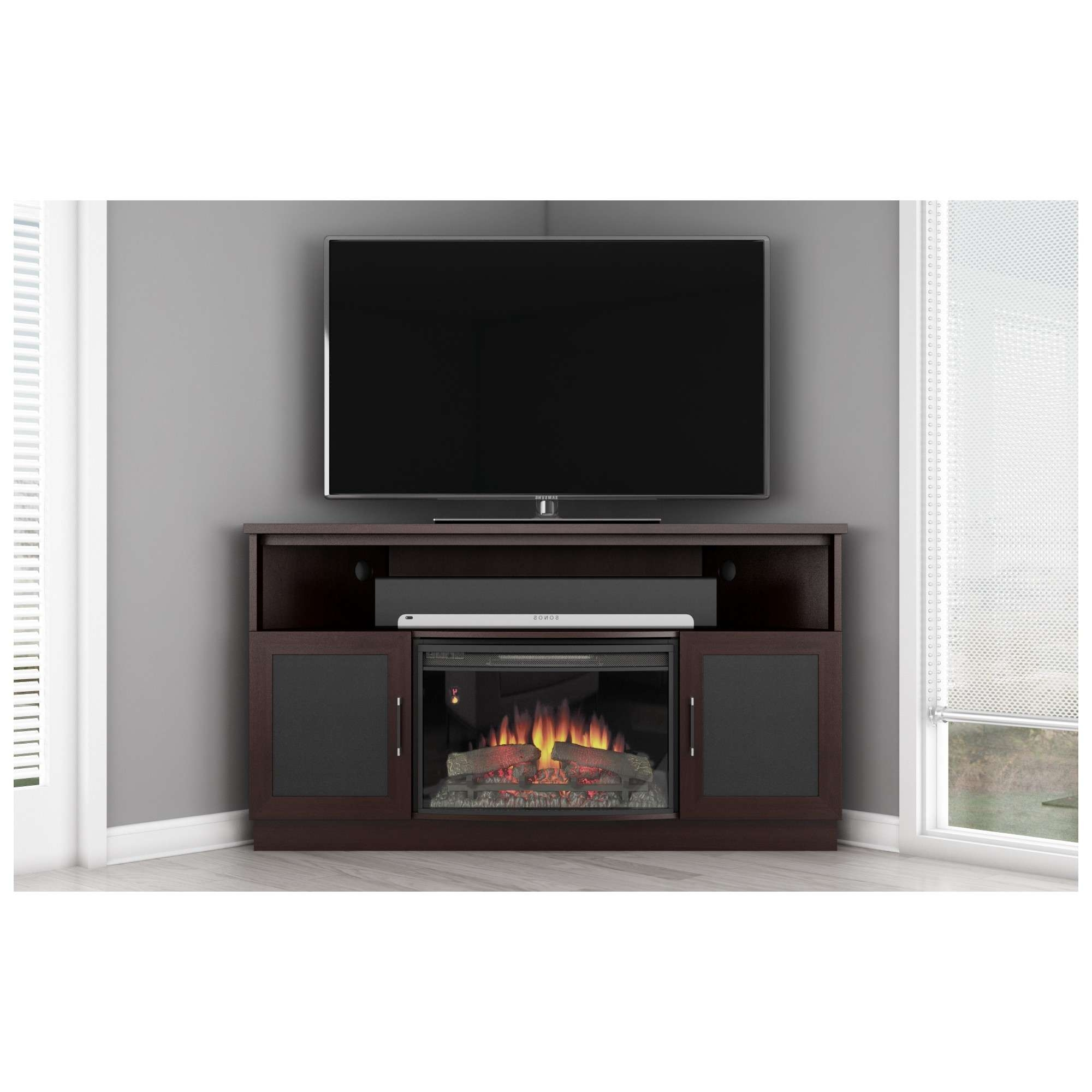 Tall Corner Tv Stand With Fireplace Modern Ideas Including Images Pertaining To Modern Corner Tv Stands (View 17 of 20)