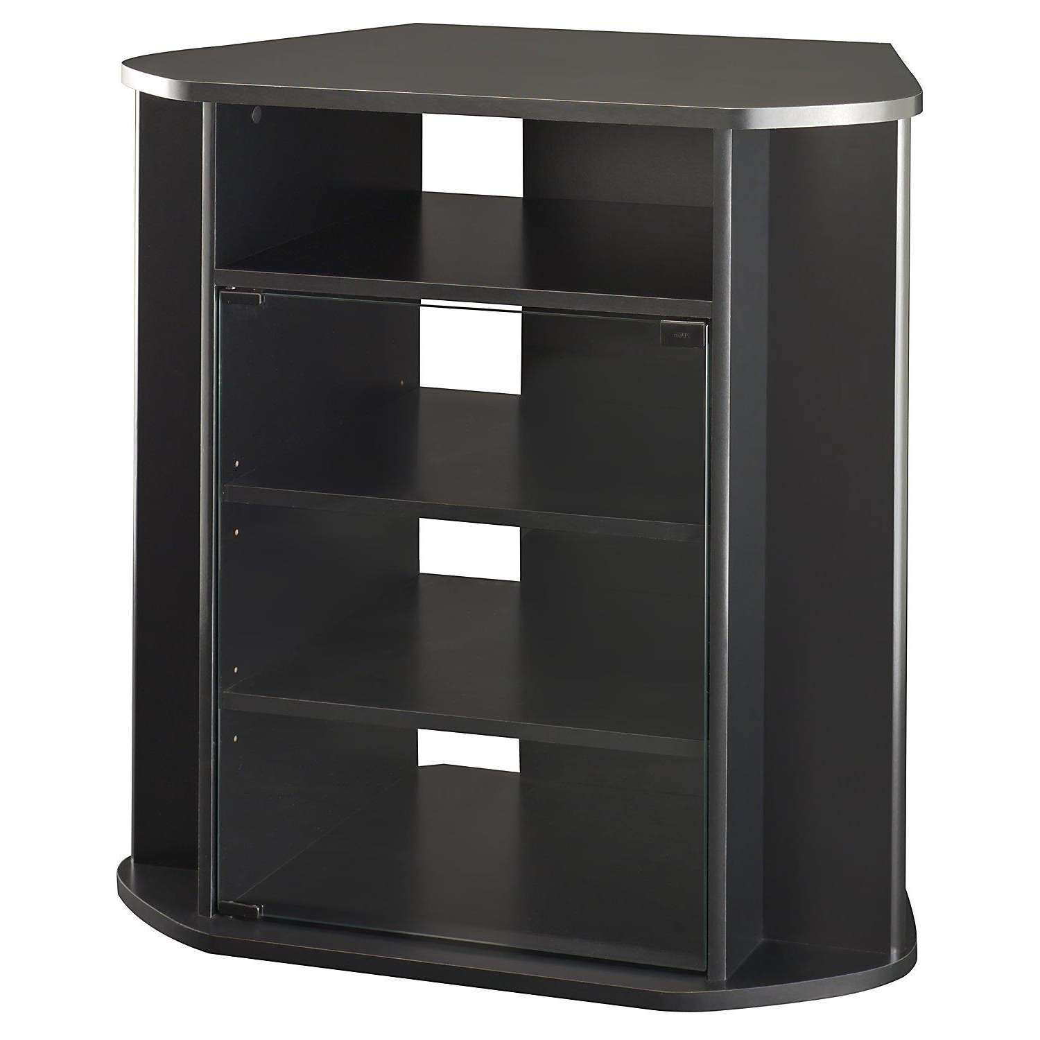 Tall Corner Tv Stand With Glass Door Cabinet In Black Color Inside Black Tv Stands With Glass Doors (View 12 of 15)